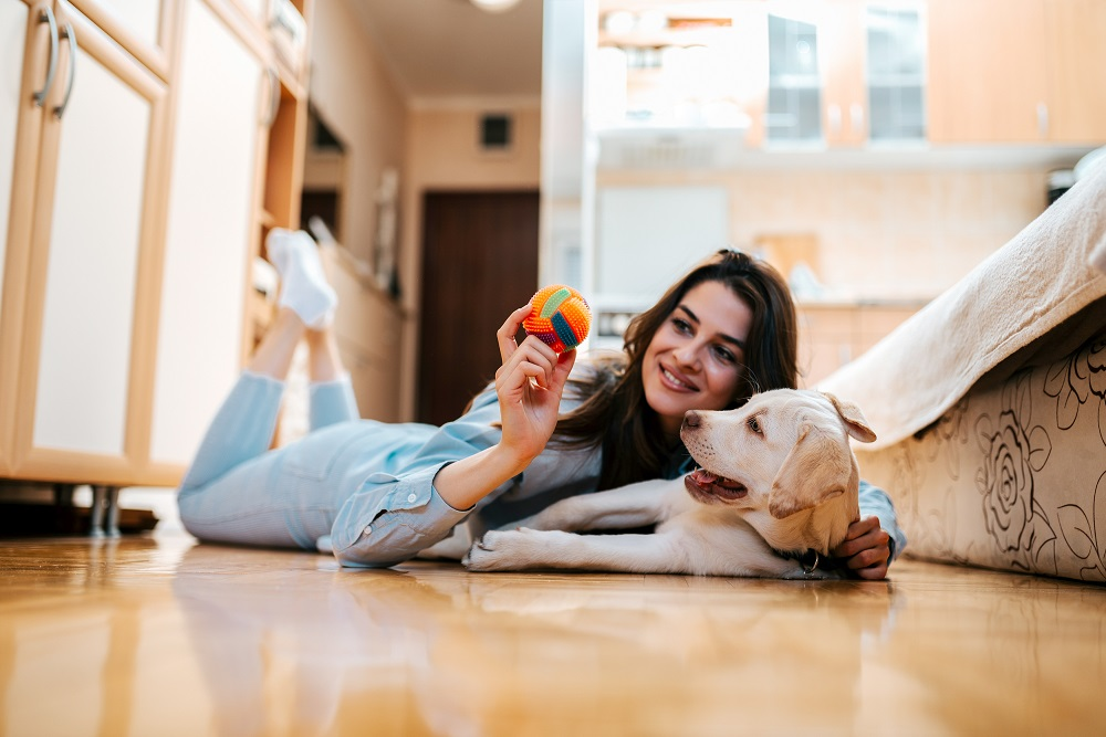 girl and her dog playing on the floor